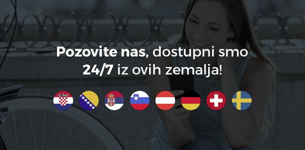 Nazovite nas, dostipni smo 27/7 iz ovih zemalja!